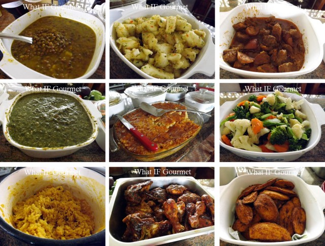 Sunday dinner at Aunty Arlene's. Clockwise from top left: