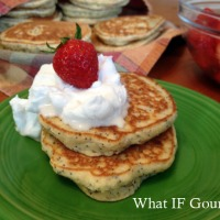 "Lemon Poppyseed Pancakes with Whipped Coconut ""Cream"" and Agave-Macerated Strawberries (GF/DF)"