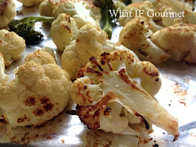 Roasted cauliiflower, ready to be added to the soup and pureed.