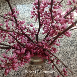 Harvested flowering branches from the felled redbud tree.
